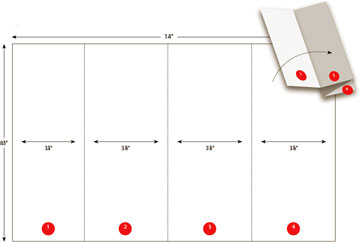 Legal Size Page 14x8 1 2 Eight Panels Four Per Side Accordion Fold With One Half Inch Reveal Panel