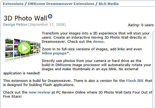 Using the Dreamweaver 3D Wall Extension