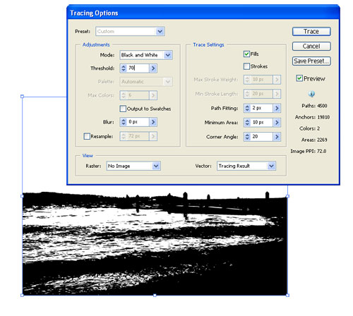 Distressing Text with Live Trace in Adobe Illustrator CS2