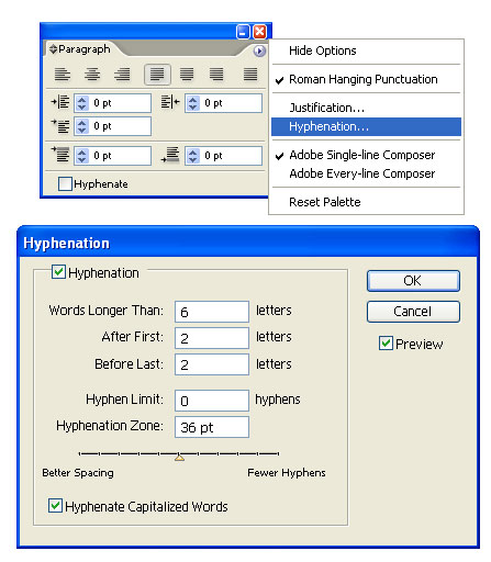 Using the paragraph palatte in illustrator layers magazine make sure you have a paragraph targeted or the entire text object selected before you use this command when the hyphenation dialog appears enable preview ccuart Image collections