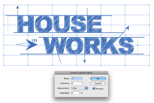 Blueprint style text in adobe illustrator layers magazine 11 change points on the grid to white or gray using the direct selection tool a select various points of the mesh and set their colors to white or any malvernweather Image collections