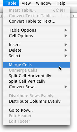 Row The Cursor Will Change To An Arrow Pointing Toward Column Then Click Select Entire Top From Table Menu Choose Merge Cells