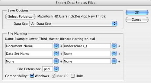 Be Sure To Set The Compatibility Switches Both Windows And Mac OS Click OK Photoshop Will Create A New PSD File For Each Data
